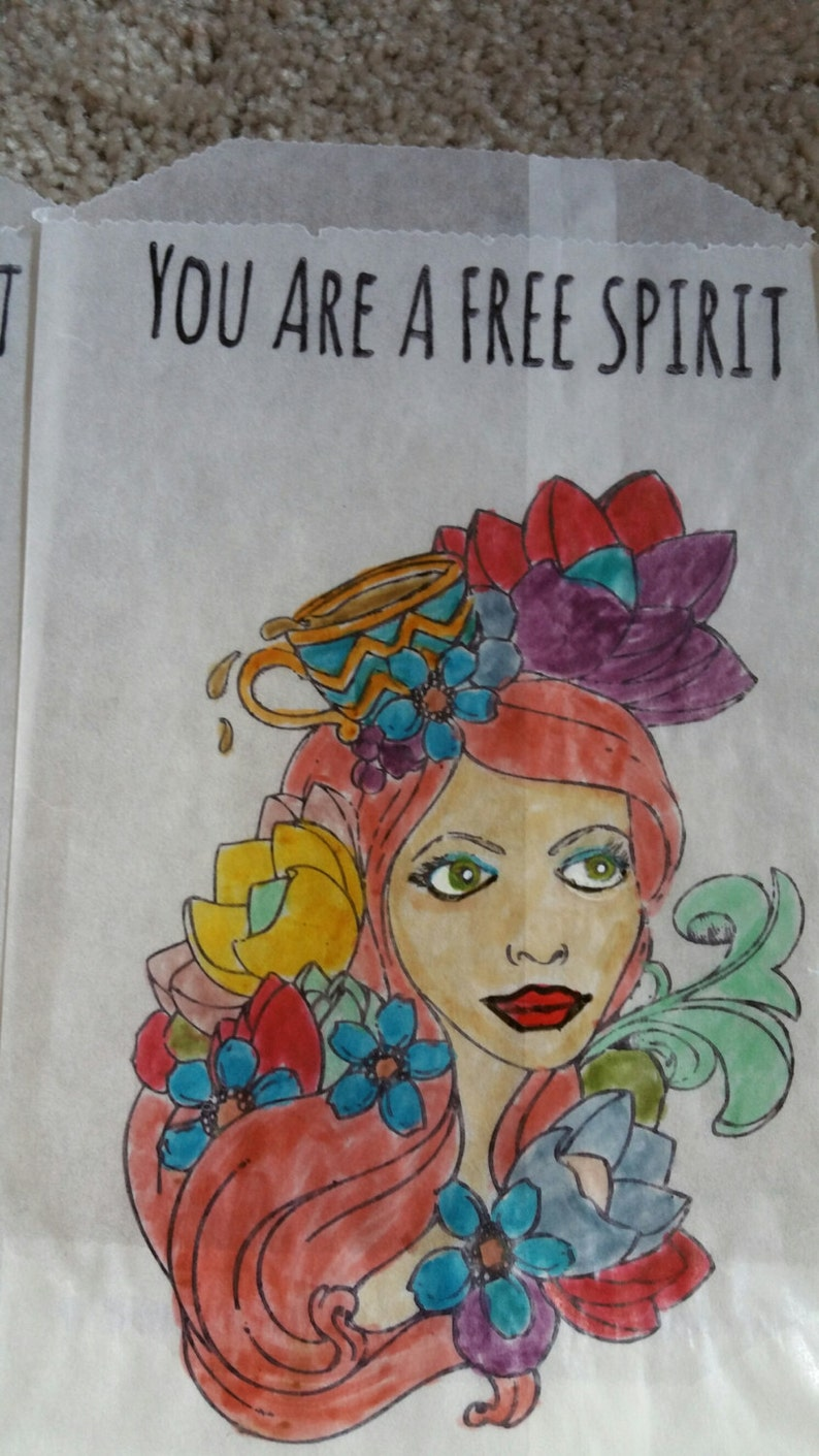 Five 4 12 X 7 12 Glassine Hand Painted Gift Bags Gypsy Girl.