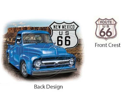 50s Ford Truck >> Classic 50 S Ford Pickup Truck Blue Truck New Mexico Route 66 Sign New T Shirt
