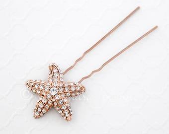 Rose Gold Crystal Starfish Hair Pin Beach Wedding Bridal Accessories