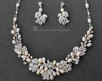 6795abce7 Crystal Leaves and Ivory Pearl Wedding Necklace and Earrings Set Bridal  Accessories Silver