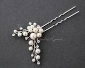 Pearl Wedding Hair Pin with Round Crystal Stones Silver Ivory Bridal hair Accessory