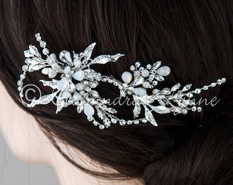 Bridal Hair Clip with White Opal Jewels Silver Wedding Hair Piece Accessory