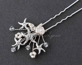 Beach Wedding Starfish Hair Pin with Cultured Pearls and Crystal Beads Bridal Accessory
