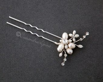 0a1bf8525691 Pearl Flower Wedding Hair Pin with Crystal Stones Silver Ivory Bridal Hair  Accessory