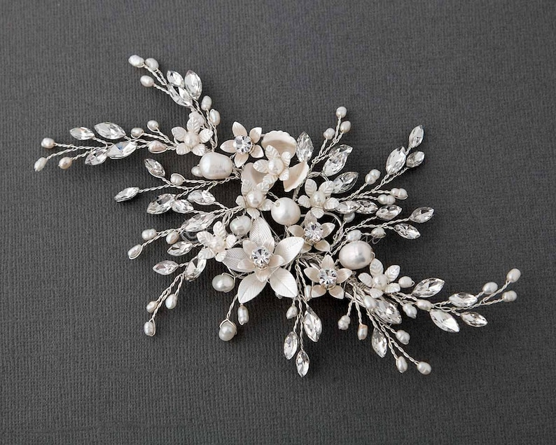 11187a043 Silver Bridal Hair Clip of Ivory Pearls and Marquise Sprays   Etsy