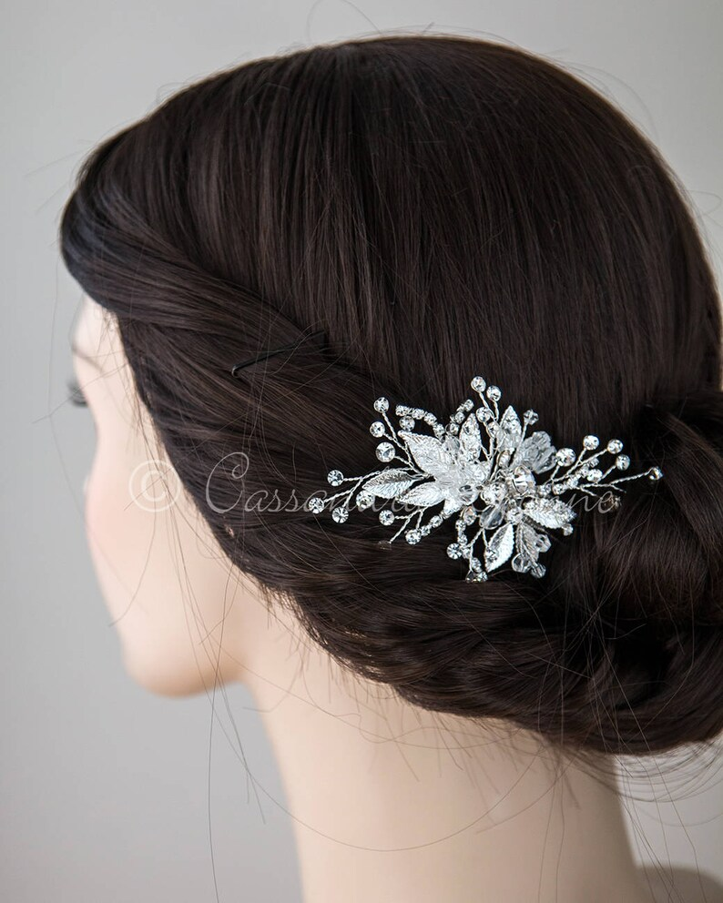 eebd2627c Silver Bridal Hair Pin of Crystals and Leaves Wedding   Etsy