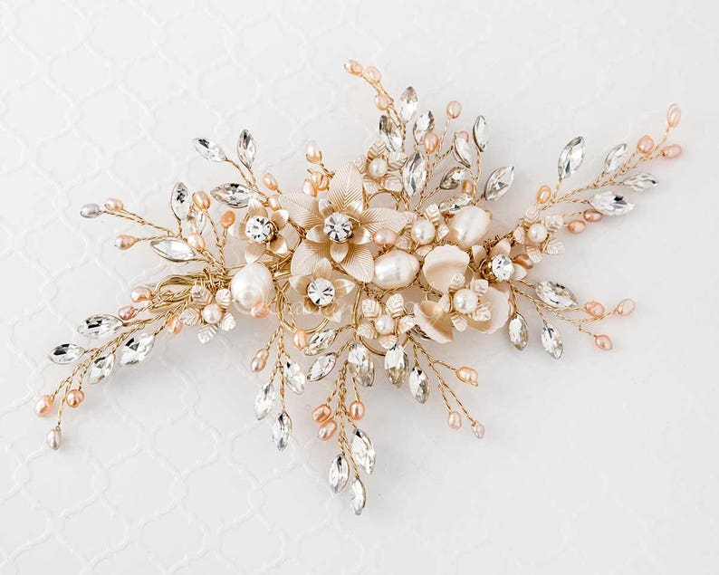 cc2bbb7ec Light Gold Bridal Hair Clip of Pink and Ivory Pearls and   Etsy