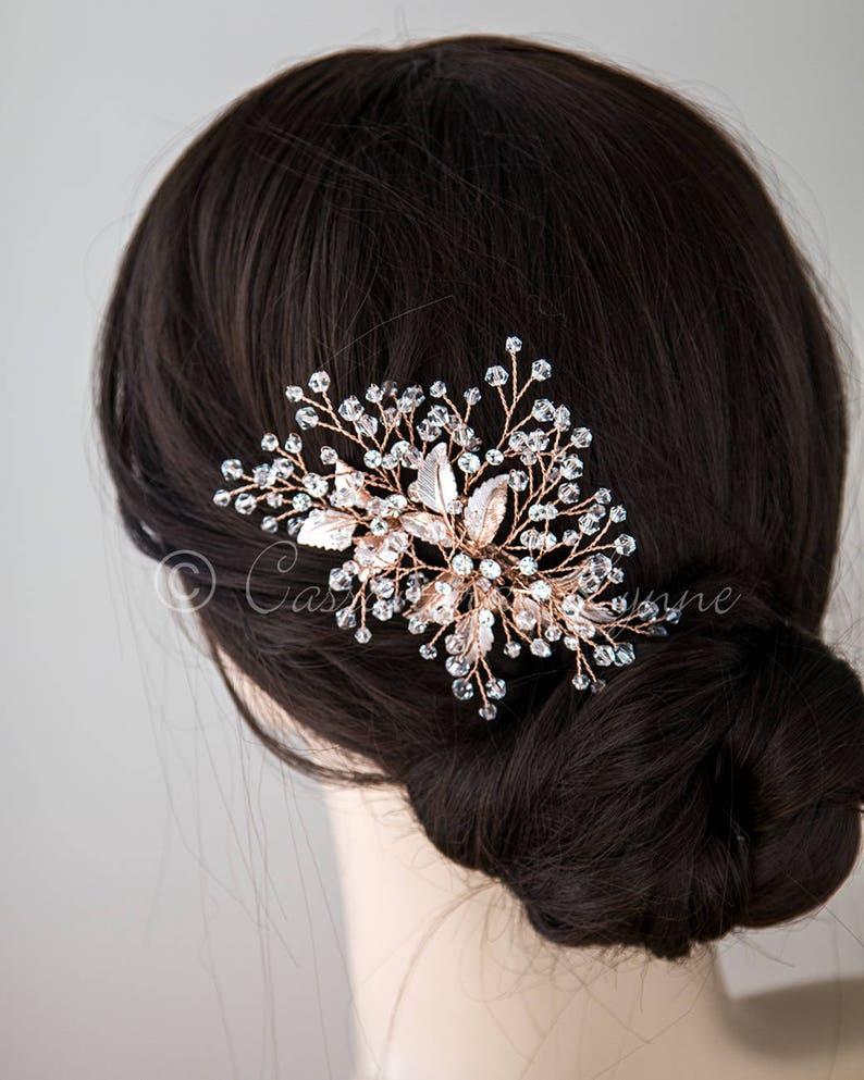 347d4343f Rose Gold Crystal Hair Clip Crystal Beads Matte Rose Gold   Etsy