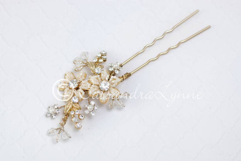 8b96f1920 Gold Bridal Hair Pin of Ivory Beaded Flowers Rhinestones and   Etsy