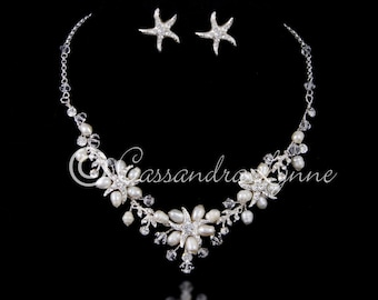 Beach Necklace Set Rhinestone Starfish Ivory Freshwater Pearls or White Glass Pearls Crystal Beads Wedding Bridal Accessories Silver