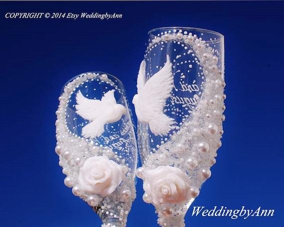 Weisse Tauben Hochzeit Glaser Hochzeit Toast Floten Braut Und Etsy