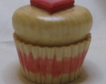 Hand Carved Wood Cupcake with HeartShaped Frosting Art Sculpture