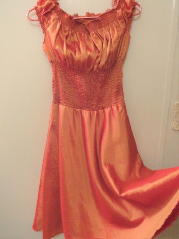 Smocked Waist Satin Taffeta Rust Color Full Skirt