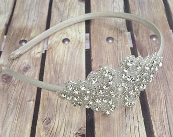 Flower girl headband, Rhinestone headband, ivory headband,  wedding headband, dressy headband, formal headband, halo, baby headband,