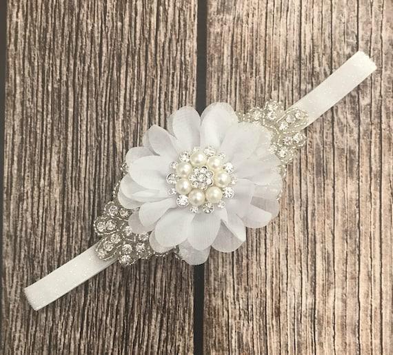 ivory headband wedding headband baby headband flower girl headband Rhinestone headband flower girl formal headband dressy headband