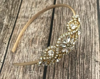 Flower girl headband, Rhinestone headband, gold headband,  wedding headband, dressy headband, formal headband, halo, baby headband,
