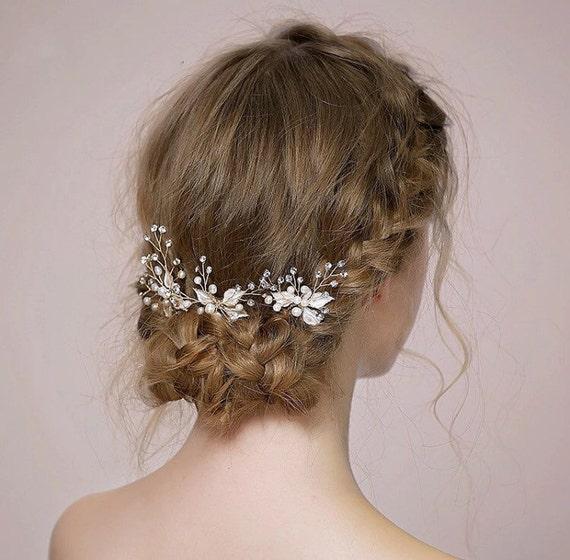 Flower Girl Flower Hair Pins Gold Pins Hair Pins Flower Babys Breath Hair Pin Gold Flower Hair Pin Wedding Hair Pins Flower Hair Pins
