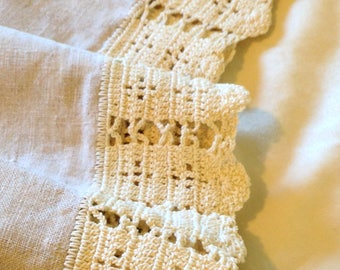 Long linen sideboard cloth, dresser or piano scarf, vintage, crocheted edge, shaped corners