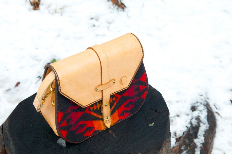 Wool Lined Saddlebag  Cross Body  Handcrafted in Portland Bless Leather Day Purse  Hand stitched Oregon
