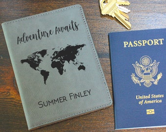 Personalized Passport Holder, Passport Cover, Travel Wallet, Passport Wallet, Adventure Awaits, Minimalist Wallet, Leather Wallet, PC108