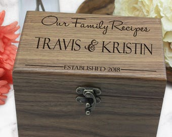 Personalized Wood Recipe Box, Engraved Wooden Recipe Box, Walnut Recipe Box - Wedding Gift, Couple Gift, Engagement Gift
