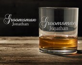 Bourbon Glasses, Groomsman Gift, Bourbon Lover Gift, Engraved Glass Whiskey Glasses, Groomsmen Gifts, Dad Gift WG122