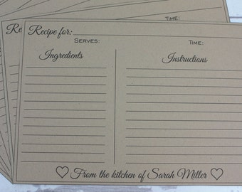 Recipe Card, Digital Customized Recipe Card With The Name Of Your Choice