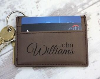Money Clip Wallet, Personalized Wallet, Engraved Leather Wallet with Money Clip, Leather Wallets for Men