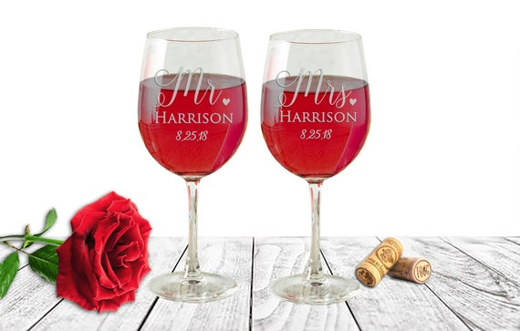 Wedding Gift Wine Glasses Mr Mrs Wine Glasses Etched Etsy