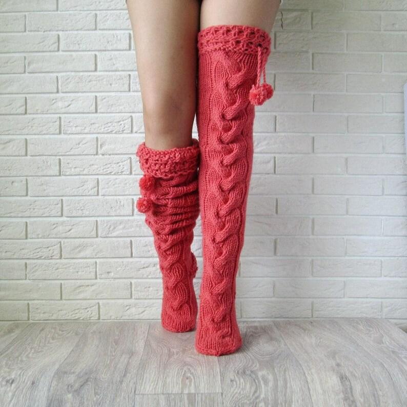 5449a213d41 Pink knit women socks. Thigh high socks. Hand knit long
