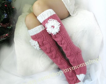 Long pink socks Long socks with a flower Hand knit socks Hand made socks Wool socks Warm winter socks Knee high Socks