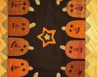 Pumpkin Party Wool Mat - Handmade and Hand Stitched