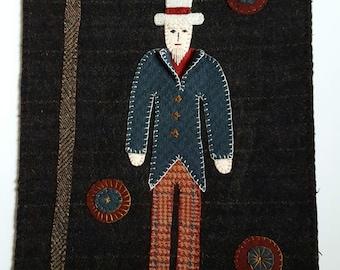 Primitive Americana Uncle Sam Wool Banner - Handmade