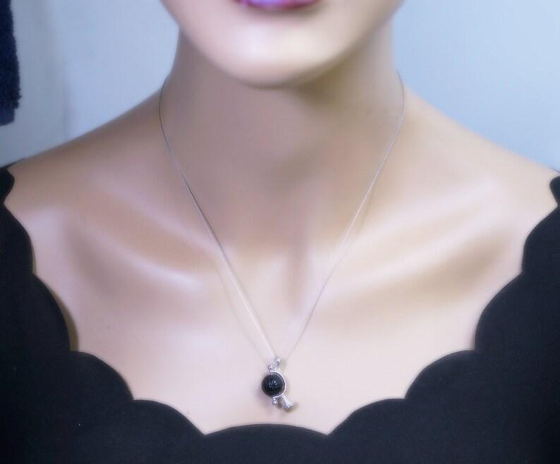 Black Onyx Lotus Flower Pendant Globe Tellurion Celestial Black Agate Pendant Sterling Silver White Gold Plated