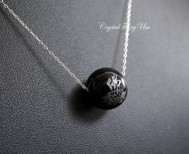 Prayer Yoga Stone Sterling Silver Black Agate Chinese Character Buddha Jewelry Single Black Onyx Necklace
