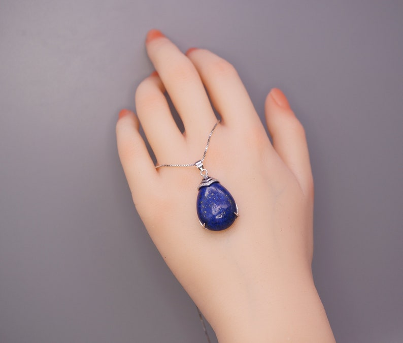 Genuine Natural Blue Lapis Lazuli Jewelry Large Teardrop Lapis Lazuli Pendant