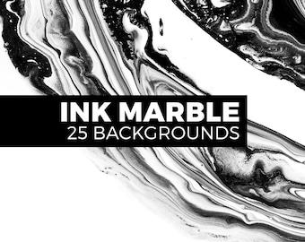 Ink marble landscapes