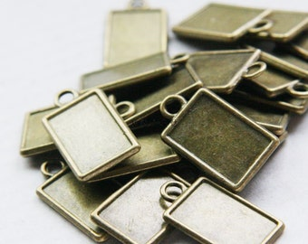 Wholesale 60pcs Antique Silver tone Square Pendant Charm/Finding,Same Side,Base Setting Tray Bezel,Fit 15mmx22mm Cabochon/ Picture/Cameo