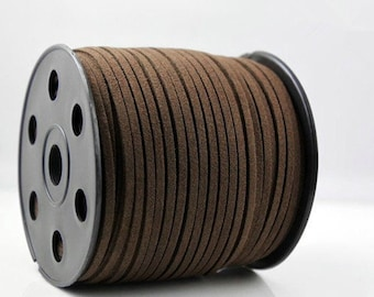 Wholesale 100Yds 3mm Deep Brown Faux  Leather Suede Cord