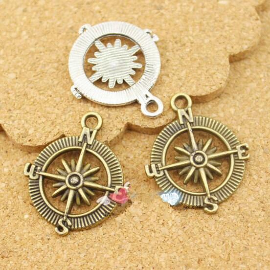 En gros ton ton ton argent Antique/Antique Bronze boussole connecteur pendentif Charm/trouver, breloque 64dc5c