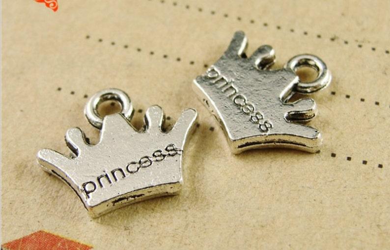 Wholesale 200pcs 12MMX10MM Antique SilverAntique Bronze Princess Crown Pendant Charm Finding,DIY Accessory Jewellry