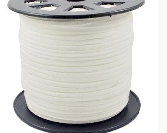 Wholesale-100Yds White  faux suede cord, 3mm, White faux suede cord for bracelets 3m