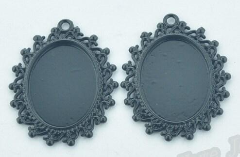 50pcs gros pendentif noir Cabochon/photo/Cameo charme/trouver, réglage de Base plateau lunette, Fit 18mmx25mm Cabochon/photo/Cameo noir dd038e