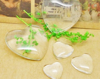 20pcs 18mm Heart Clear/Transparent Glass Cabochons/Cover Cabs,Pendants Domed for Photos,Cabochons, or Art,For Base Setting Tray Bezel
