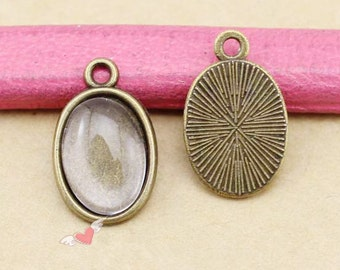 Wholesale-100pcs Antique Silver tone/Antique Bronze Oval Base Setting Tray Bezel Pendant  Charm/Finding,fit 10mmx14mm Cabochon/Picture/Cameo