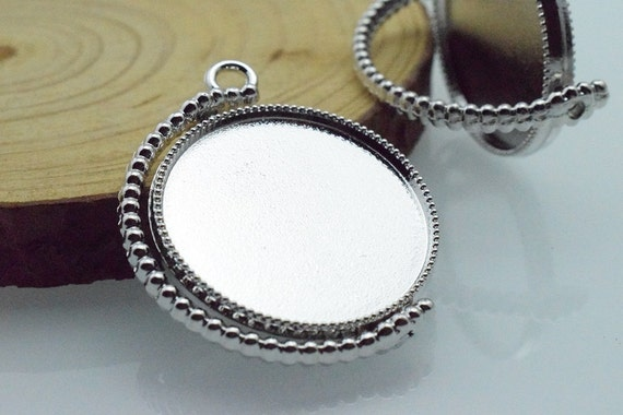 Wholesale 20pcs rotate spin pendant trays 25mm double side round wholesale 20pcs rotate spin pendant trays 25mm double side round pendant blanks bezel cabochon settings pendant tray blanks mozeypictures Choice Image