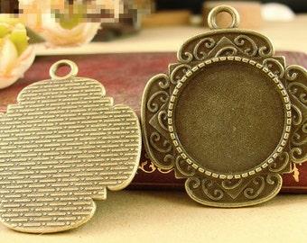 Wholesale 30pcs Antique Silver tone/Antque Bronze Cross Base Setting Pendant Trays,20mm Bezel Cabochon Settings - Pendant Tray Blanks