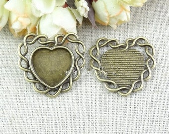 Wholesale 50pcs Antique Bronze Heart Frame Base Bezel Setting Tray Bezel Pendant Charm/Finding,fit 18mm Cabochon/Picture/Cameo