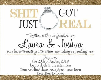 Downloadable Personalised Customised Wedding Invitations Shit Just Got Real