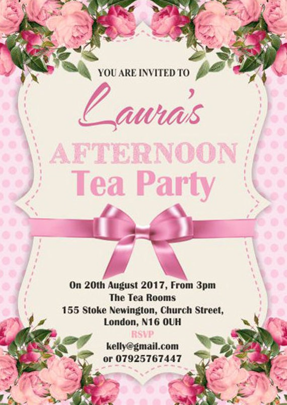 10 x Afternoon Tea Birthday Anniversary Party Invitations
